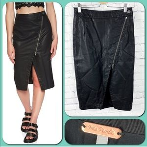 Free People Black Leather Wrapped Up Zipper Skirt